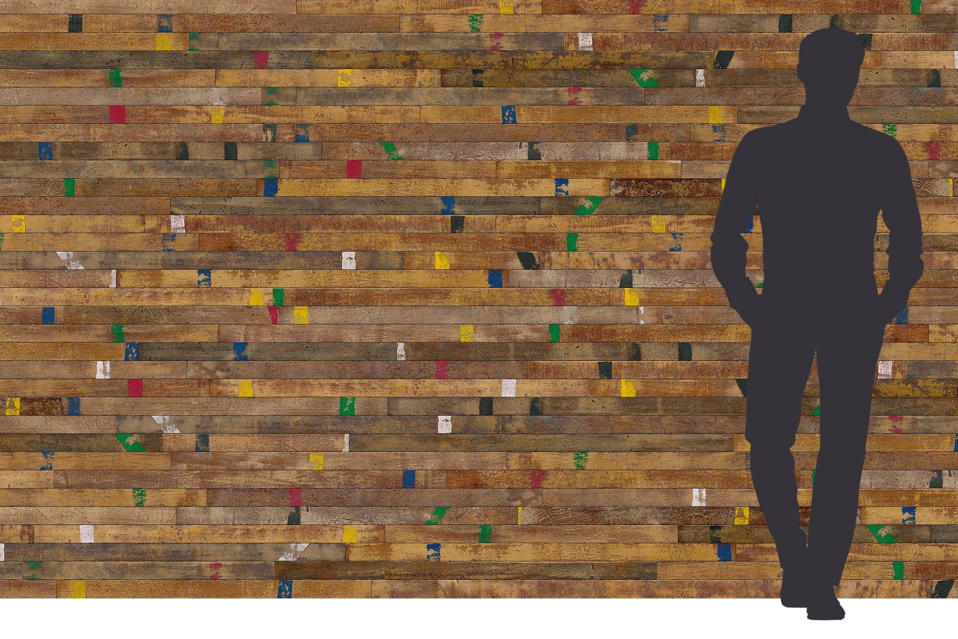 Turnhallenboden als Wandverkleidung