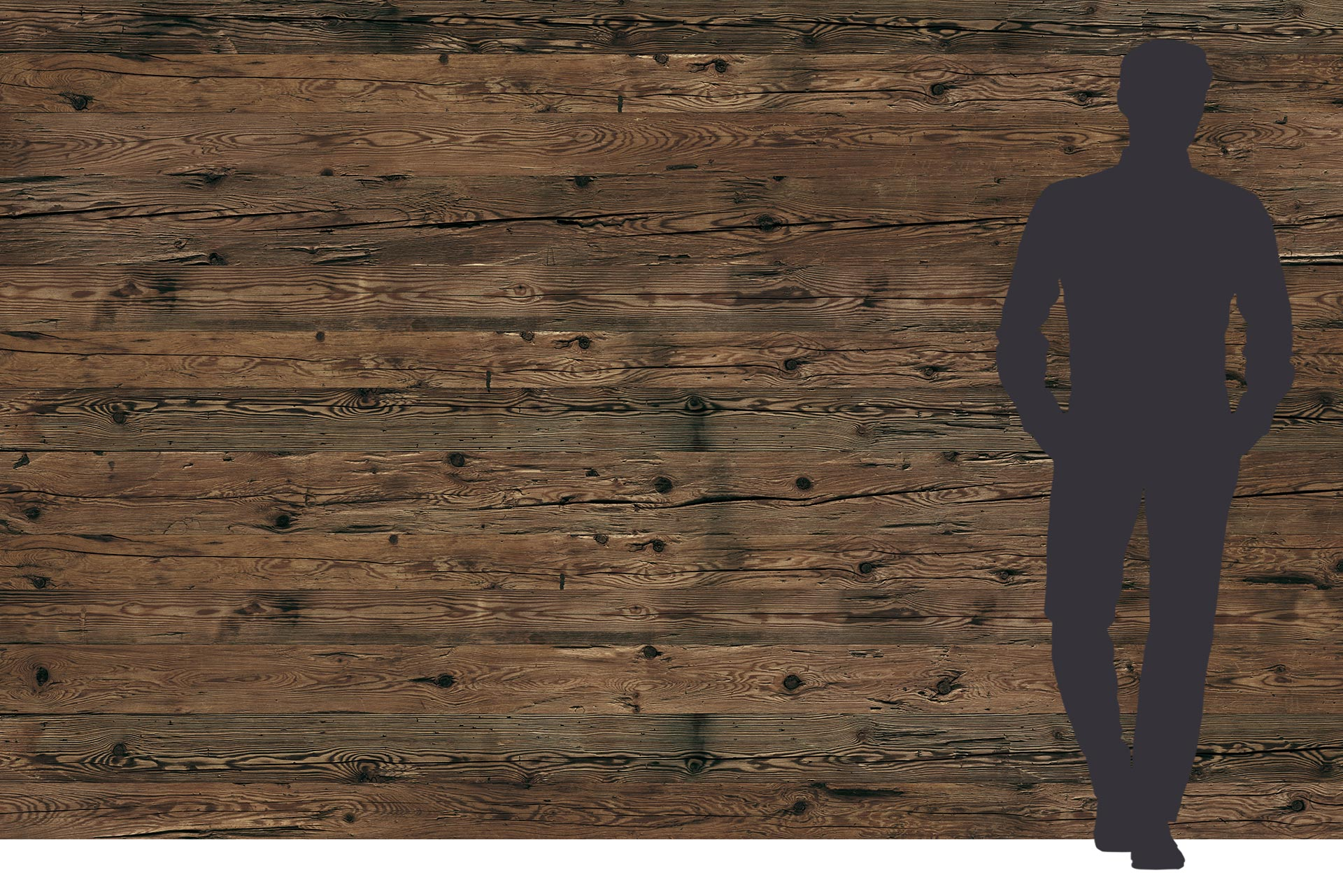 Blockwandbohle Fichte braun auf Dreischichtplatte 3x2 m