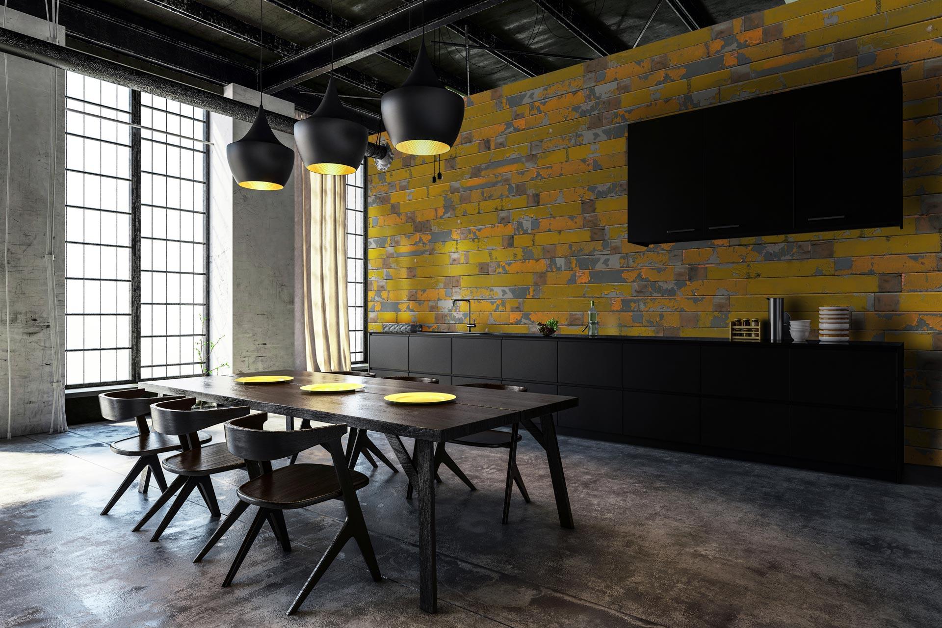 Gelbe Wandverkleidung in Küche